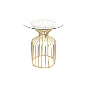 TABLE METAL GLASS 60X70 GOLDEN