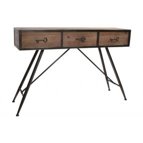 CONSOLE TABLE WOOD METAL 140X39X89 3 DRAWERS