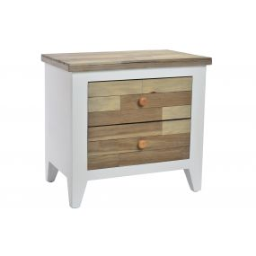 BEDSIDE TABLE WOOD 58X35X55 2 DRAWERS NATURAL