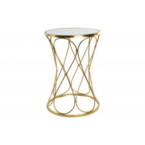 AUXILIARY TABLE METAL GLASS 40X40X60 GOLDEN