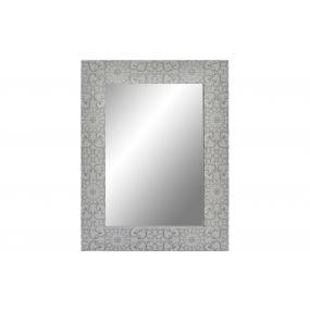 MIRROR WOOD 60X80X2.5 FLORAL WHITE