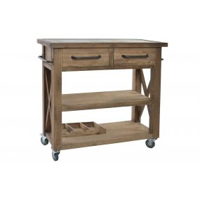 CONSOLE TABLE WOOD METAL 95X40X90 WHEEL NATURAL