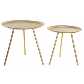 AUXILIARY TABLE SET 2 METAL 50X50X50 GOLDEN