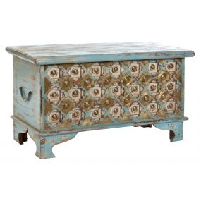 CHEST MANGO METAL 80X40X45 18 KG. ETHNIC AGED BLUE