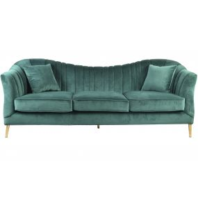 COUCH POLYESTER METAL 233X91X88 2 CUSHIONS GOLDEN