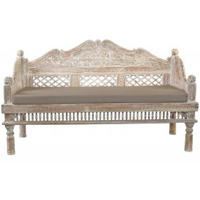 COUCH ACACIA POLYESTER 148X63X89 ETHNIC CARVED