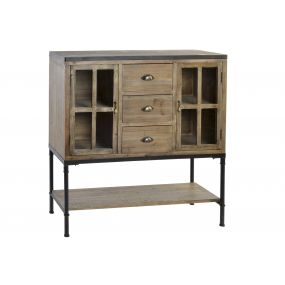 CHEST OF DRAWERS SPRUCE METAL 100X39X110 2 DOORS