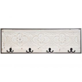WALL CLOTHES RACK SPRUCE METAL 81X6X26 ETHNIC AGED