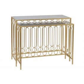 CONSOLE TABLE SET 2 METAL MARBLE 100X32X80