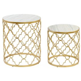 AUXILIARY TABLE SET 2 METAL MARBLE 48X57