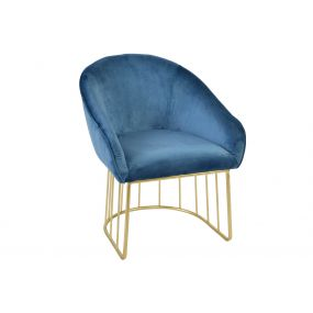 CHAIR POLYESTER METAL 59X66X74 VELVET BLUE