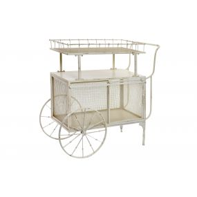 WAITRESS METAL WOOD 96X45X90 WHEEL AGED WHITE