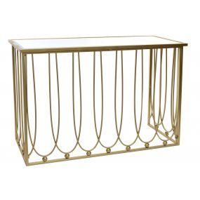 CONSOLE TABLE METAL MIRROR 120X43X80 MATTE GOLDEN