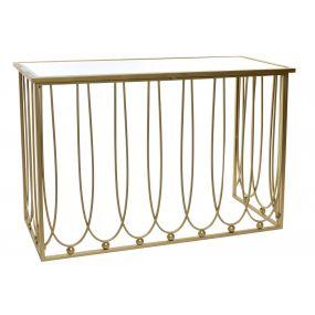CONSOLE TABLE METAL MIRROR 120X43X80 MATTE GOLDEN
