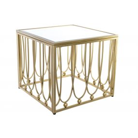 AUXILIARY TABLE METAL MIRROR 57X57X52 MATTE GOLDEN