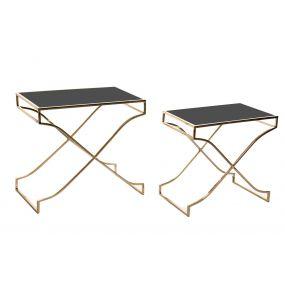 AUXILIARY TABLE SET 2 GLASS METAL 60X38X59 BLACK