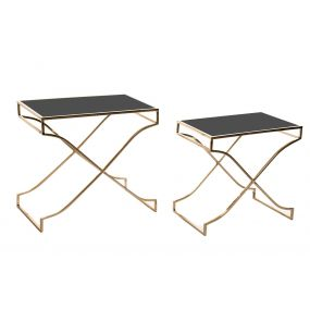 AUXILIARY TABLE SET 2 GLASS METAL 60X38X59 BLACK
