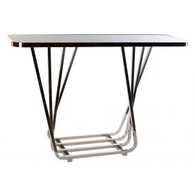 CONSOLE TABLE METAL GLASS 120X35X80 CHROMED SILVER