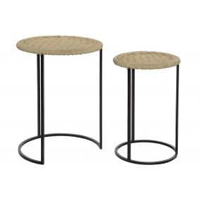 AUXILIARY TABLE SET 2 ROPE METAL 42X56 NATURAL
