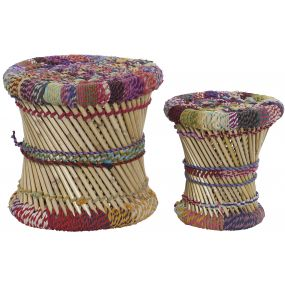 FOOTREST SET 2 BAMBOO COTTON 40X40X39 MULTICOLORED