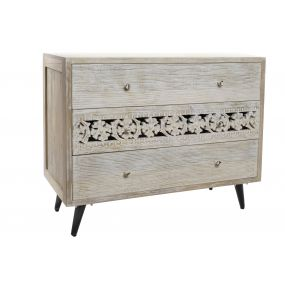 CHEST OF DRAWERS MANGO MDF 100X42X81 CARVED WHITE