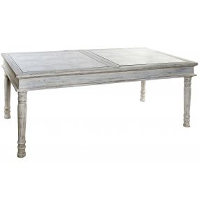 TABLE SPRUCE GLASS 190X90X80 AGED WHITE