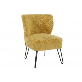 ARMCHAIR POLYESTER METAL 62X63X80 LEAVES YELLOW