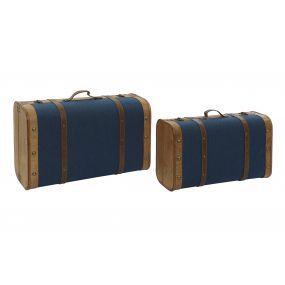 TRUNK SET 2 POPLAR CANVAS 60X24X38 BLUE