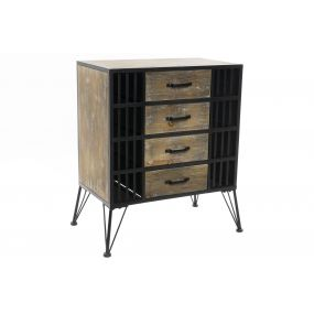 CHEST OF DRAWERS WOOD METAL 60X35X73 4 DRAWERS