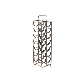 BOTTLE RACK METAL 25,5X23,5X95 GOLDEN