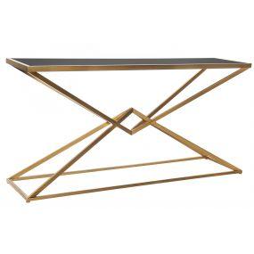 CONSOLE TABLE METAL GLASS 150X40X75 DIAMOND AGED