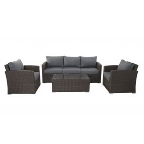 COUCH SET 4 SYNTHETIC RATTAN 193X75X78 GARDEN