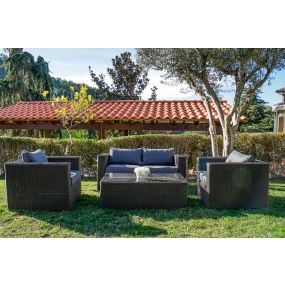 COUCH SET 4 SYNTHETIC RATTAN 160X85X65 GARDEN