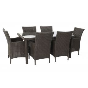 TABLE SET 7 SYNTHETIC RATTAN 160X90X75 GARDEN