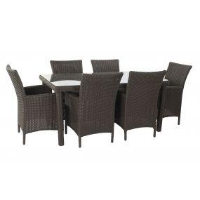 TABLE SET 7 SYNTHETIC RATTAN 160X90X75 GARDEN