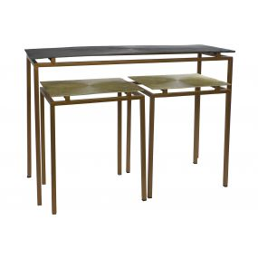 CONSOLE TABLE SET 3 METAL ALUMINIUM 109,5X37,5X80