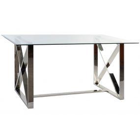 TABLE GLASS STEEL 150X87X75 8MM CHROMED
