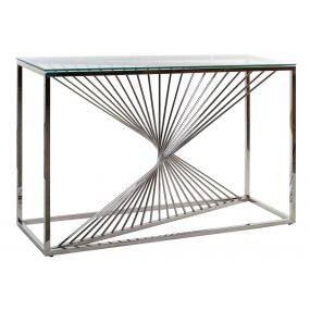 CONSOLE TABLE STEEL GLASS 120X40X78 8 MM. SPARKLY