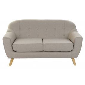 COUCH POLYESTER WOOD 147X82X82 26 2 SEATS BEIGE