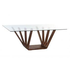 TABLE WALNUT GLASS 200X100X75 12 MM. NATURAL BROWN