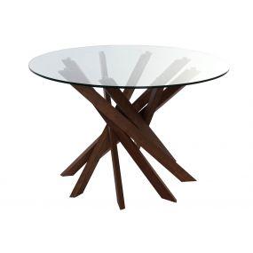 TABLE WALNUT GLASS 120X120X76 12 MM. NATURAL BROWN
