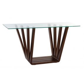 CONSOLE TABLE WALNUT GLASS 145X45X75 8 MM. NATURAL