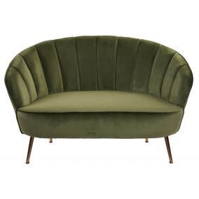 COUCH POLYESTER METAL 127X76X78 VELVET GREEN
