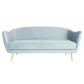 COUCH POLYESTER METAL 174X84X79 VELVET TURQUOISE