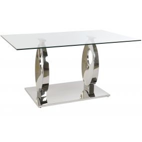 TABLE GLASS STEEL 160X90X76 1,2 MM. CHROMED
