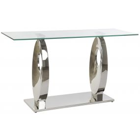 CONSOLE TABLE GLASS STEEL 150X45X80 1,2 MM.