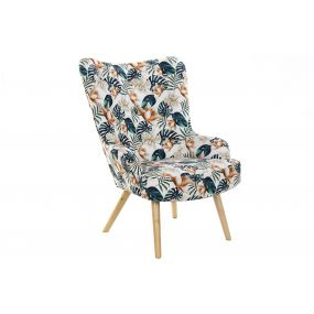 ARMCHAIR POLYESTER BIRCH 76X74X74 LEAVES