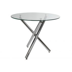 TABLE GLASS METAL 90X90X75 25 CHROMED TRANSPARENT