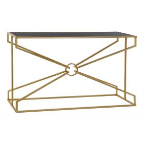 CONSOLE TABLE METAL GLASS 130X40X75 GOLDEN