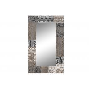 MIRROR WOOD 70X2X120 AFRICAN CARVED BROWN